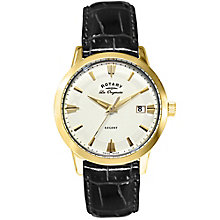 Rotary men's gold-plated black leather strap watch - Product number 2866862