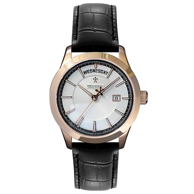 Dreyfuss & Co. men's rose gold-plated black strap watch - Product number 2866897
