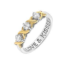 Silver, Gold & Cubic Zirconia Love & Kisses Eternity Ring - Product number 2866927