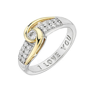 Silver, Yellow Gold & Cubic Zirconia I Love You Swirl Ring - Product number 2867508