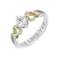 Silver, Yellow Gold & Cubic Zirconia I Love You Hearts Ring - Product number 2867648