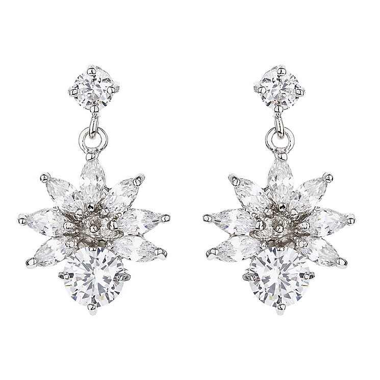 Mikey Cubic Zirconia Hanging Flower Drop Earrings - Product number 2868474