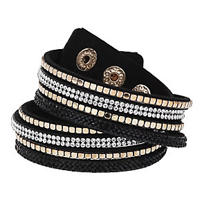 Mikey Crystal & Black Leather Wrap Bracelet - Product number 2868504