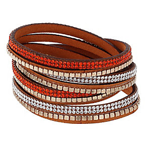 Mikey Crystal & Orange Leather Wrap Bracelet - Product number 2868539