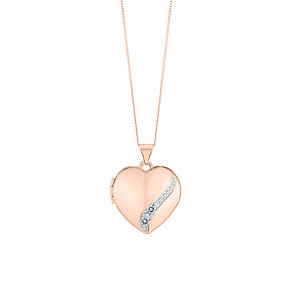 9ct rose gold diamond set heart locket - Product number 2869942