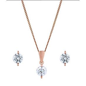 9ct rose gold earring and pendant with Swarovski Zirconia - Product number 2869950