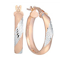 9ct rose gold diamond cut creole earrings - Product number 2869985