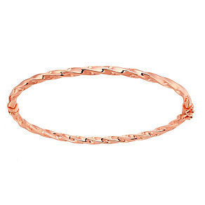 9ct rose gold polished twist bangle - Product number 2870193