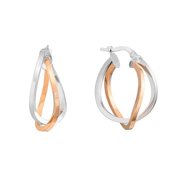 9ct rose and white gold double hoop creole earrings - Product number 2870312