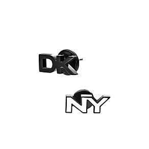 DKNY Parsons Black & Stainless Steel Logo Stud Earrings - Product number 2876809