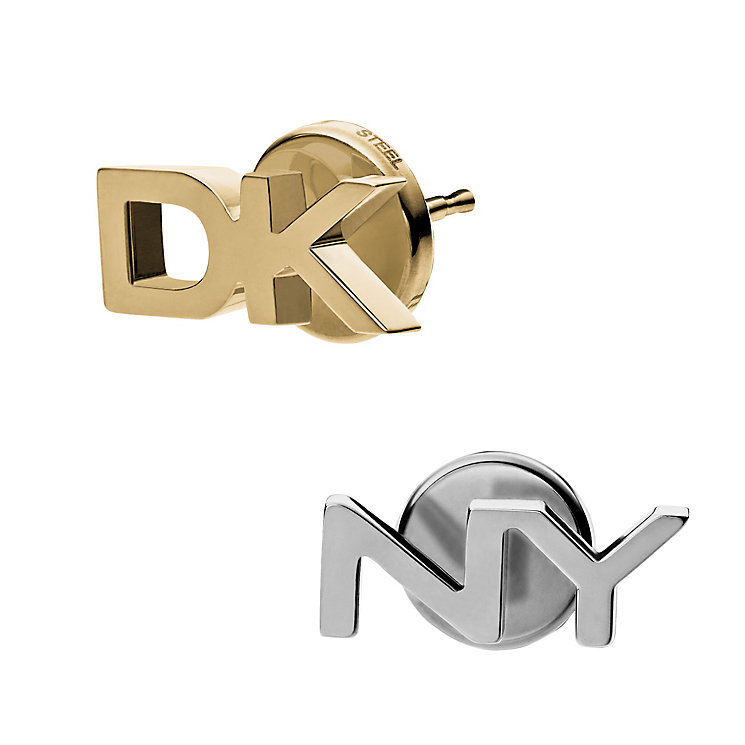 DKNY Parsons Gold Tone & Stainless Steel Logo Stud Earrings - Product number 2877082