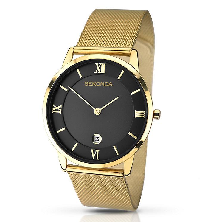 men s sekonda watches h samuel sekonda men s black dial gold plated mesh bracelet watch product number 2879107