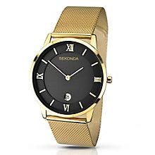 Sekonda Men's Black Dial Gold-Plated Mesh Bracelet Watch - Product number 2879107