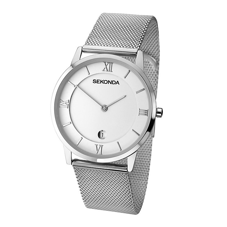 Sekonda Men's White Dial Stainless Steel Mesh Bracelet Watch - Product number 2879239