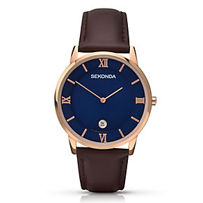 Sekonda Men's Rose Gold Plated Brown Leather Strap Watch - Product number 2880857