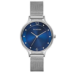 Skagen Ladies' Anita Blue Dial Stainless Steel Mesh Watch - Product number 2880865