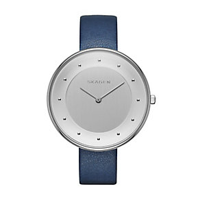 Skagen Ladies' Gitte Silver Tone Blue Leather Strap Watch - Product number 2880873