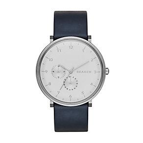 Skagen Men's Hald Silver Tone & Blue Leather Strap Watch - Product number 2880911