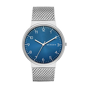 Skagen Men's Ancher Blue Dial Silver Tone Mesh Strap Watch - Product number 2881055