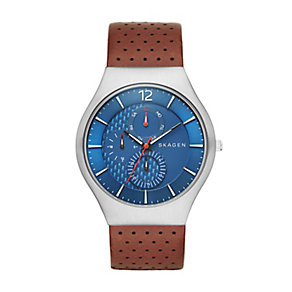 Skagen Men's Grenen Blue Dial & Brown Leather Strap Watch - Product number 2881063
