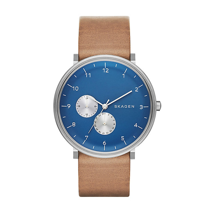 Skagen Men's Hald Silver Tone & Blue Leather Strap Watch - Product number 2881071