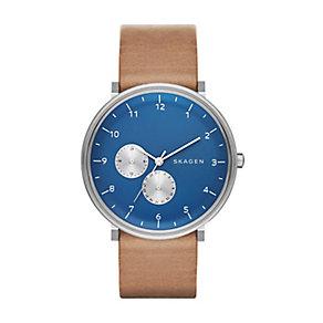 Skagen Men's Hald Silver Tone & Blue Leather Strap Watch - Product number 2881071