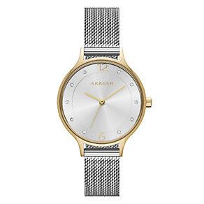 Skagen Ladies' Anita Two Tone Mesh Strap Watch - Product number 2881136