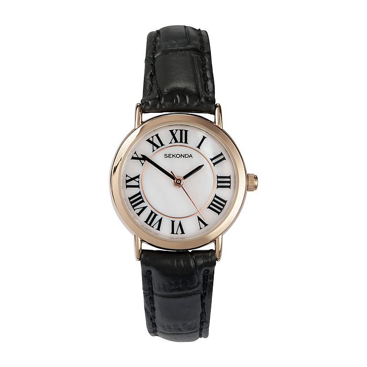 Sekonda Ladies' Round White Dial Black Leather Strap Watch - Product number 2881160
