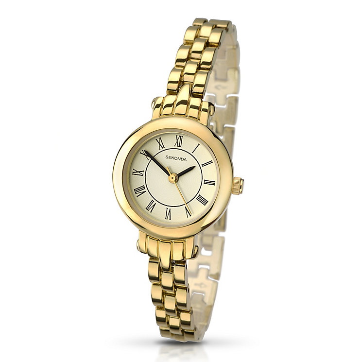 Sekonda Ladies White Dial Gold Plated Bracelet Watch H