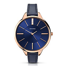 Sekonda Editions Ladies' Rose Gold Plated Blue Strap Watch - Product number 2882051