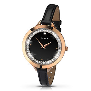 Sekonda Seksy Ladies' Stone Set Black Leather Strap Watch - Product number 2882191