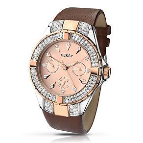 Sekonda Seksy Ladies' Swarovski Element Brown Strap Watch - Product number 2882213