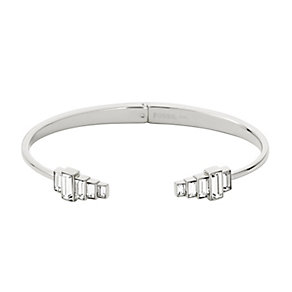 Fossil Vintage Glitz Silver Tone Crystal Set Cuff Bangle - Product number 2882507
