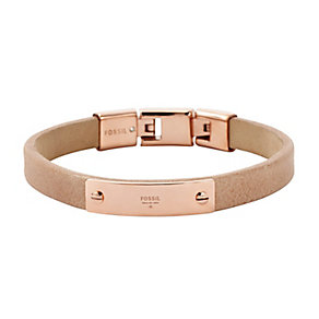 Fossil Vintage Iconic Rose Gold Tone & Leather Cuff Bracelet - Product number 2882515