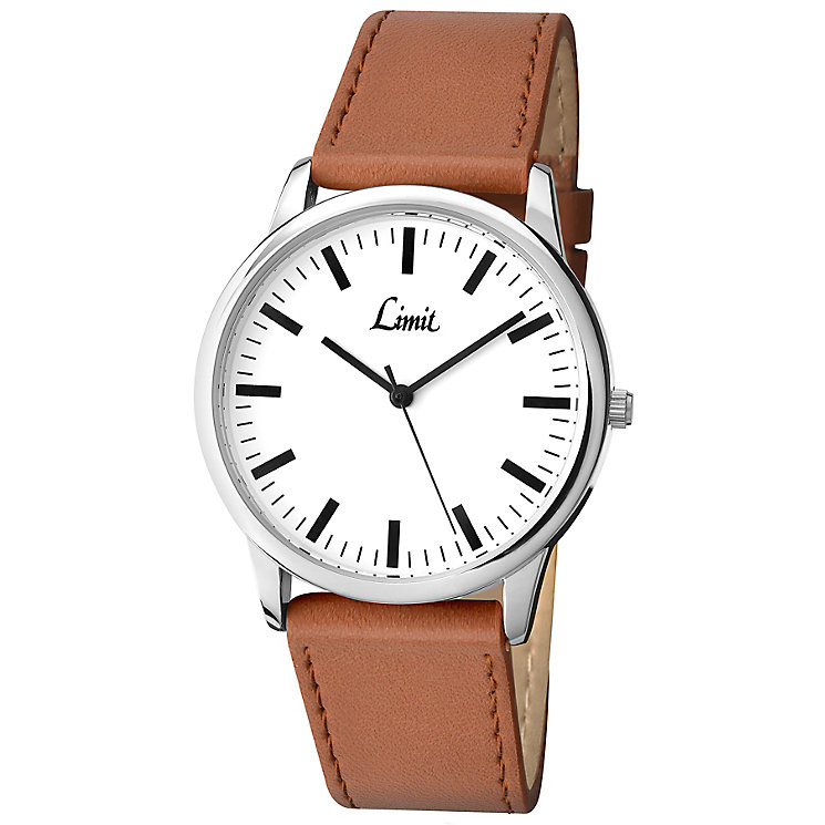Limit Men's Silver Tone & Tan Brown Strap Watch - Product number 2882795