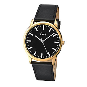 Limit Men's Yellow Gold Plate & Black Strap Watch - Product number 2882809