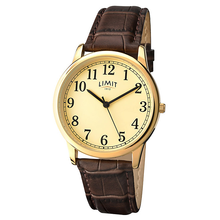 Limit Men's Yellow Gold Plate & Brown Crocodile Strap Watch - Product number 2882817