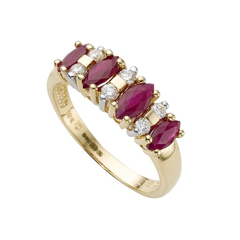 18ct gold ruby and diamond ring