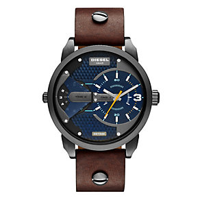 Diesel Men's Mini Daddy Brown Leather Strap Watch - Product number 2892715