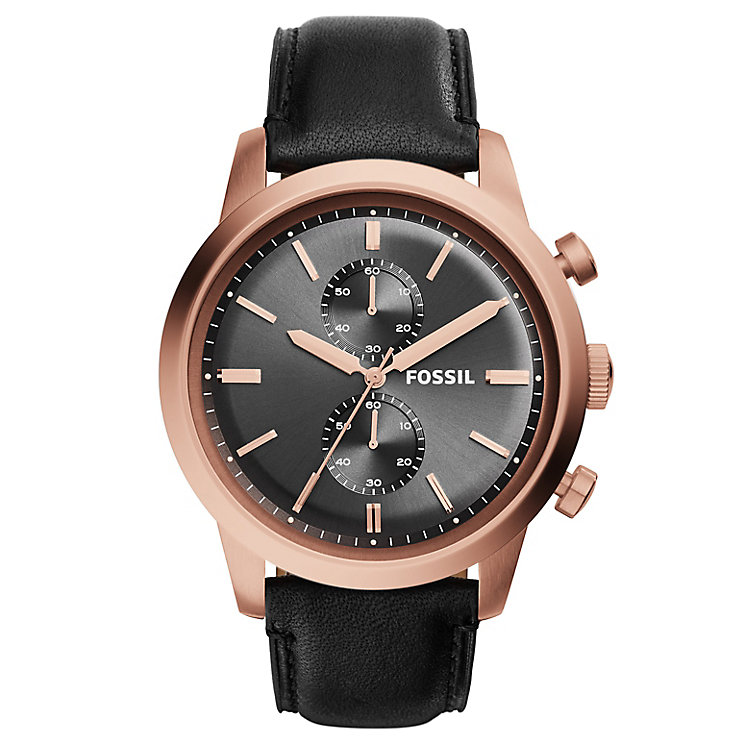 Fossil men's rose gold plated quartz strap watch - Product number 2897180