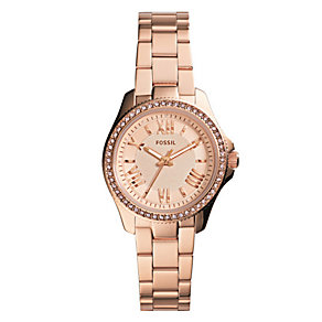 Fossil Ladies' Mini-Cecile Rose Gold Tone Bracelet Watch - Product number 2901706