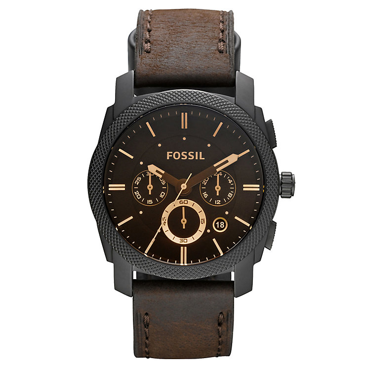 Fossil Men's Machine Brown Leather Strap Watch - Product number 2901765