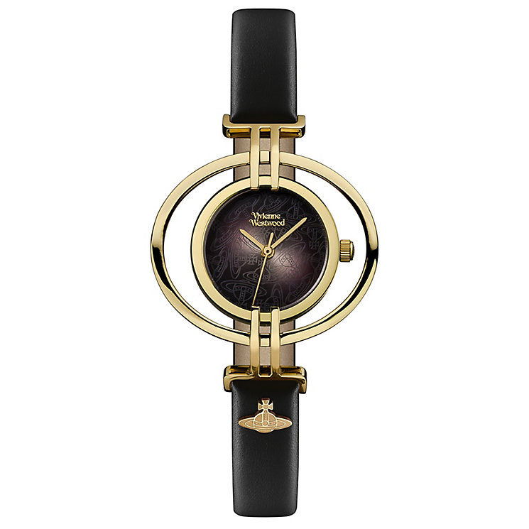 Vivienne Westwood gold-plated oval black leather strap watch - Product number 2902397