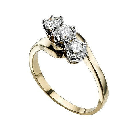 18ct gold one carat diamond three stone ring
