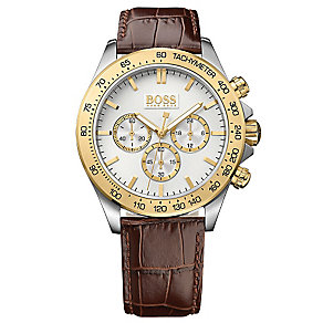 Hugo Boss men's two colour brown leather strap watch - Product number 2902575