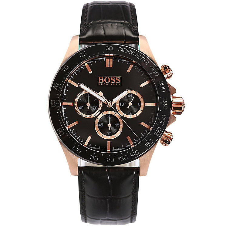 Hugo Boss men's rose gold-plated black leather strap watch - Product number 2902583