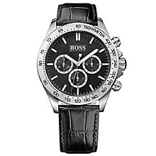 Hugo Boss men's stainless steel black leather strap watch - Product number 2902591
