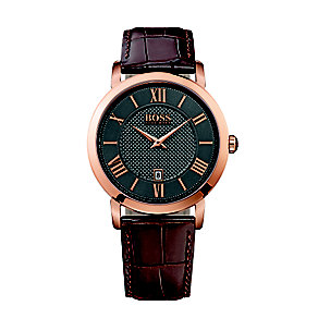 Hugo Boss men's rose gold-plated brown leather strap watch - Product number 2902915