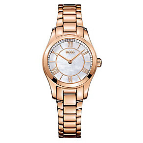 Hugo Boss ladies' mother of pearl rose gold-plated watch - Product number 2903008