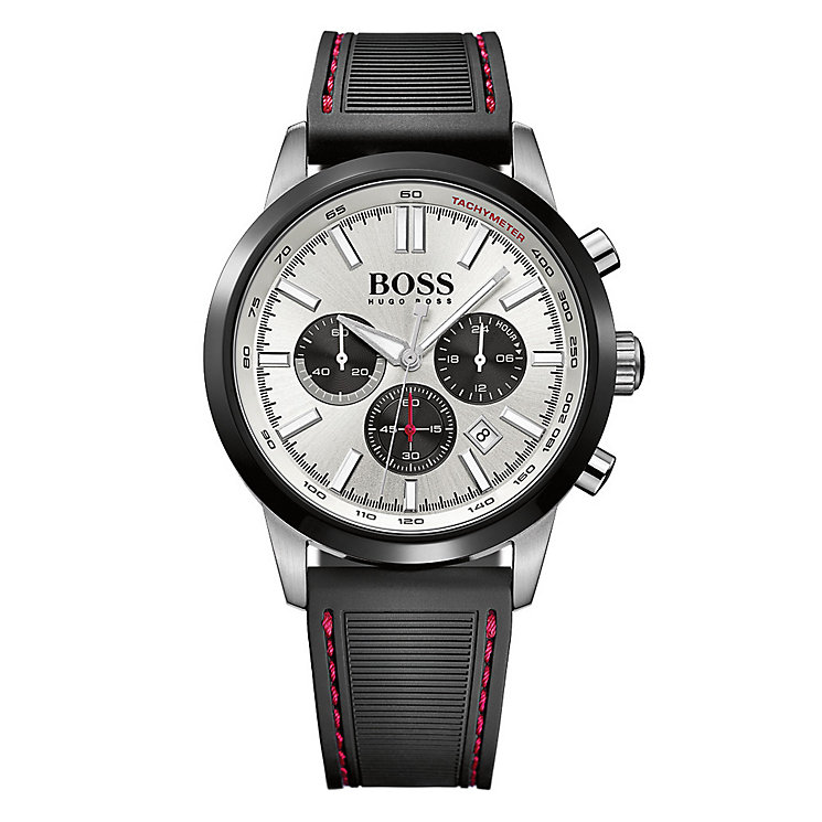 movado hugo boss watches ernest jones hugo boss men s stainless steel black rubber strap watch product number 2903059